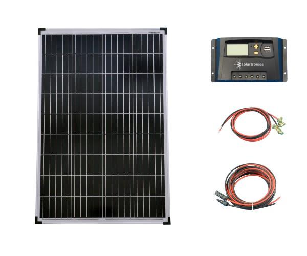 SET 1x 100W Poly Solar Modul 20A Laderegler gelb Kabel