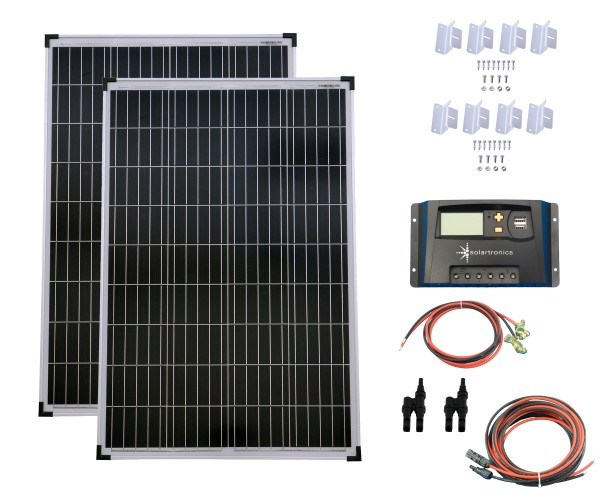 SET 2x100W Poly Solar Modul 20A Laderegler gelb Montagewinkel Kabel Stecker
