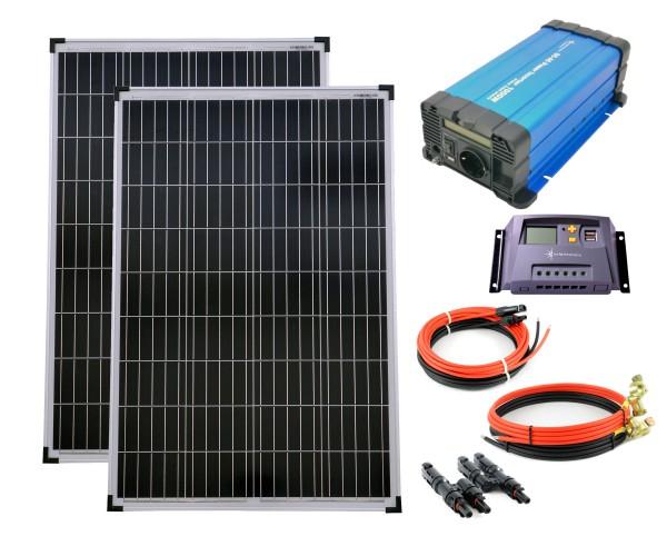 SET 2x100W Poly Solar Modul 20A Laderegler gelb Spannungswandler FS1000D 1000W reine Kabel Stecker