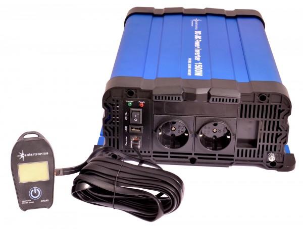 Spannungswandler FS1500DR 12V 1500 Watt reiner Sinus BLAU mit Display-Kabelfernbed