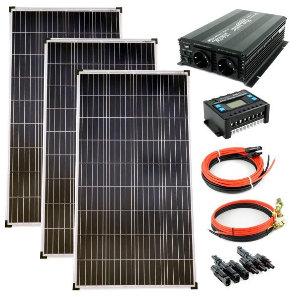 Komplettset 3x130 Watt Poly Solarmodul 1500 W Spannungswandler 30A Laderegler Solar Inselanlage