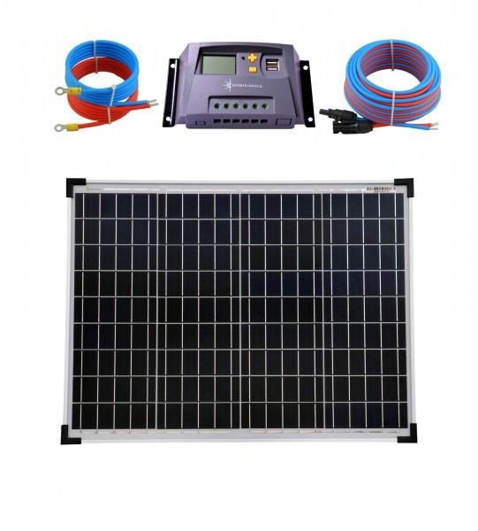 Solaranlage 50 Watt 12V Poly Laderegler 10A gelb Kabel 5 Meter Set