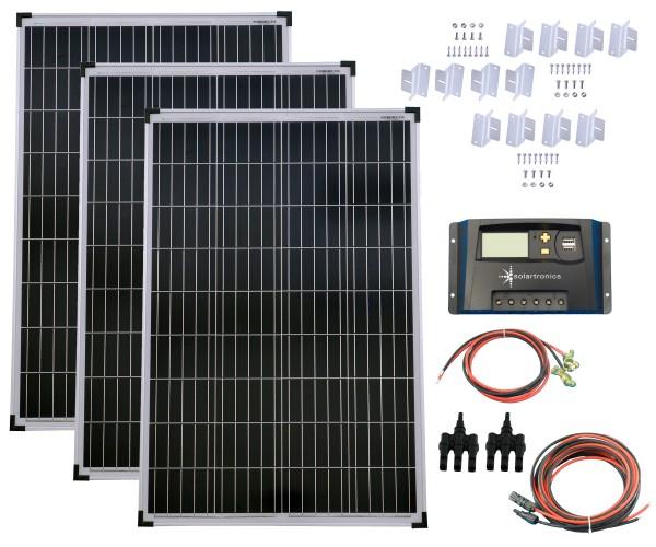 SET 3x 100W Poly Solar Modul 20A Laderegler gelb Montagewinkel Kabel Stecker