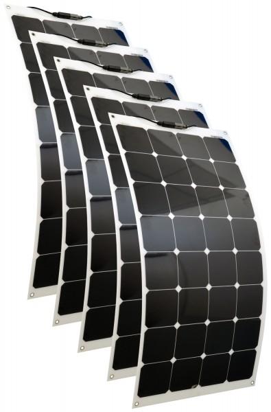 Solarmodule 5 Stück 100 Watt flexibel Mono Solarpanel Solarzelle 1100x542x2 92121