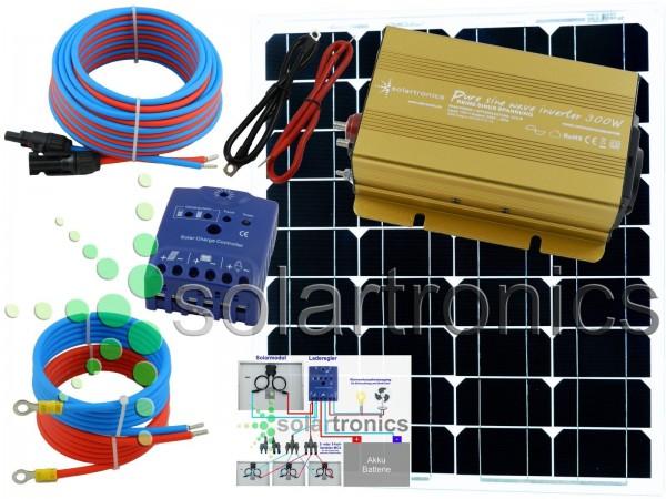 Solaranlage 50 Watt 12V Set mit Spannungswandler