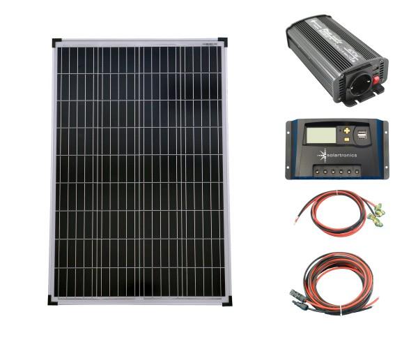 SET 1x 100W Poly Solar Modul 20A Laderegler gelb Spannungswandler 600W modifiziert Kabel