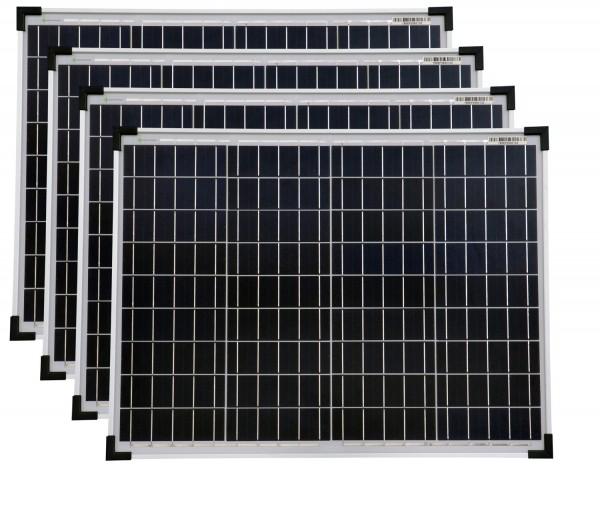 Solarmodule 4 Stück 50 Watt Poly Solarpanel Solarzelle 668x508x35 92381