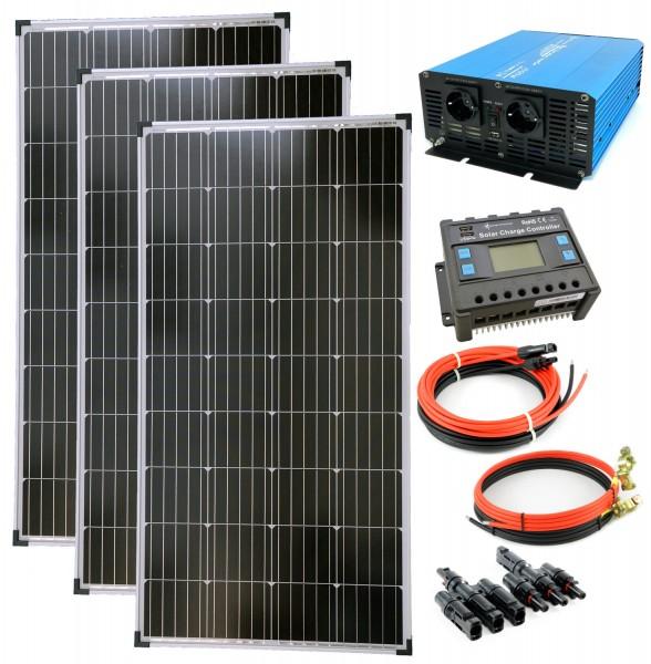 Komplettset 3x130 Watt Solarmodul 1500 Watt TS1500 Spannungswandler 30A Laderegler Inselanlage