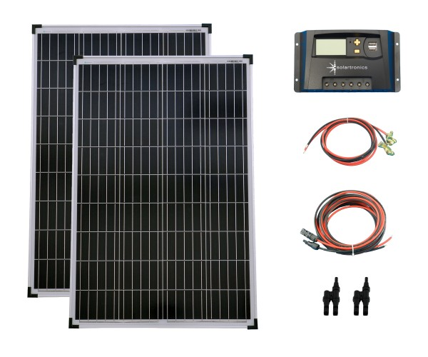 SET 2x 100W Poly Solar Modul 20A Laderegler gelb Kabel Stecker