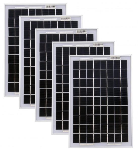 Solarmodule 5 Stück 10 Watt Mono Solarpanel Solarzelle 369x250x18 90530