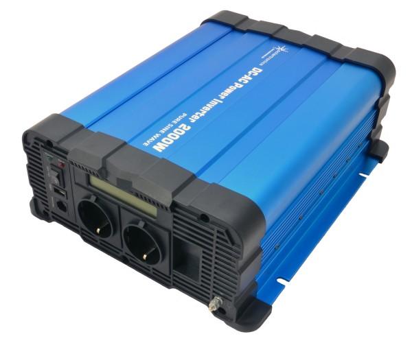 Spannungswandler FS2000D 12V 2000 Watt reiner Sinus BLAU m. Display