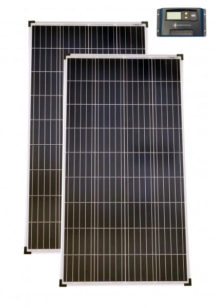 Solarset 12V / 24V 260 Watt + 12V/24V Laderegler 20A poly