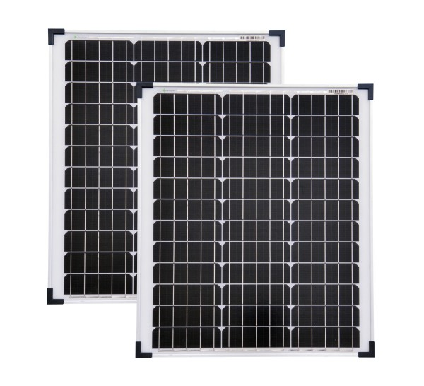 Solarmodule 2 Stück 50 Watt Mono Solarpanel Solarzelle 630x545x35 92336