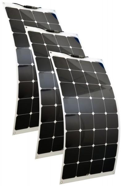Solarmodule 3 Stück 100 Watt flexibel Mono Solarpanel Solarzelle 1100x542x2 92121