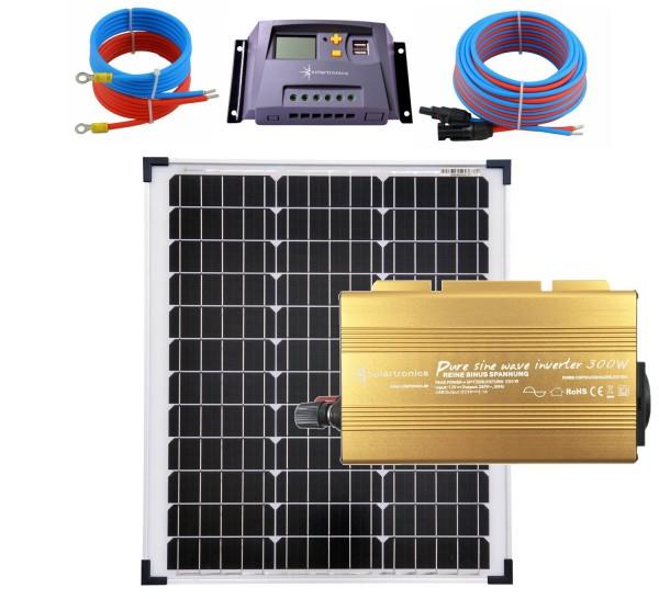 Solaranlage 50 Watt 12V Set mit Spannungswandler Laderegler 10A gelb Kabel 5 Meter Set