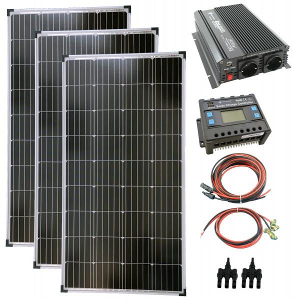 Komplettset 3x140 Watt Solarmodul 1500 Watt Wandler Laderegler Photovoltaik Inselanlage
