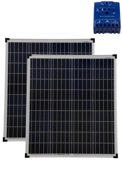 Solarset 160 Watt + 12V Solarladeregler schw 10A poly