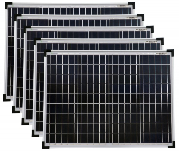 Solarmodule 5 Stück 50 Watt Poly Solarpanel Solarzelle 668x508x35 92381