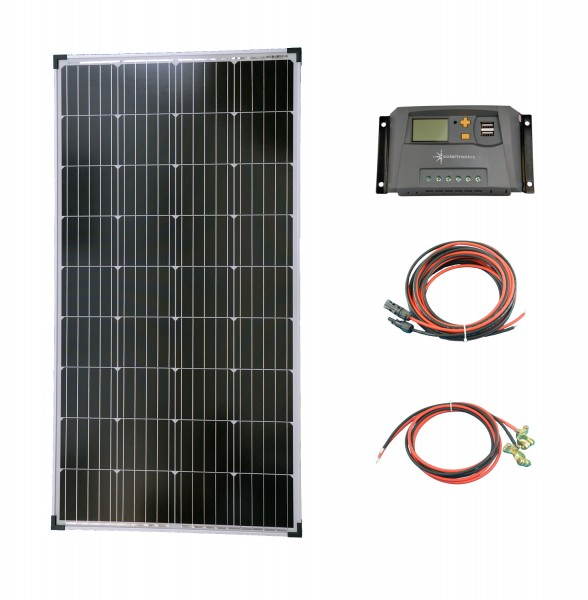 Komplettset 1x130 Watt Solarmodul Laderegler Photovoltaik Inselanlage