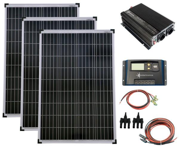 SET 3x 100W Poly Solar Modul 20A Laderegler gelb Spannungswandler 1500W modifiziert Kabel Stecker