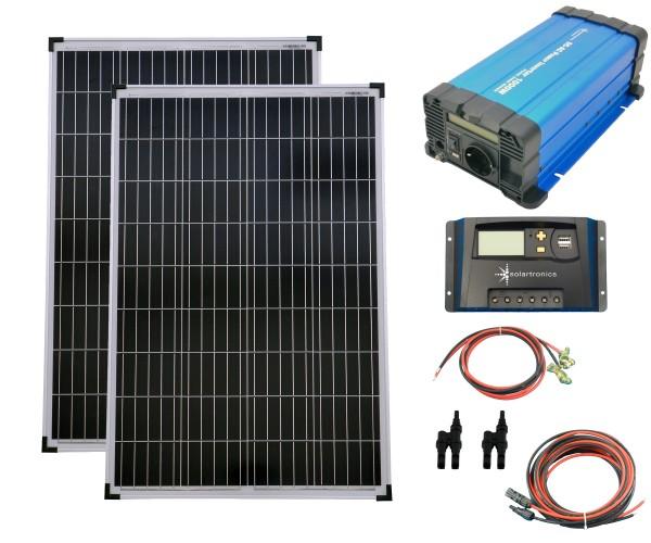 SET 2x 100W Poly Solar Modul 20A Laderegler gelb Spannungswandler 1000W rein Kabel Stecker