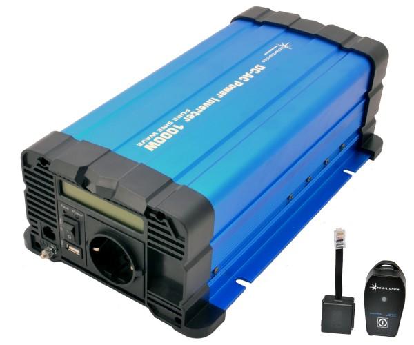 Spannungswandler FS1000D 12V 1000 Watt reiner Sinus BLAU m. Display mit Fernbedienung Funk