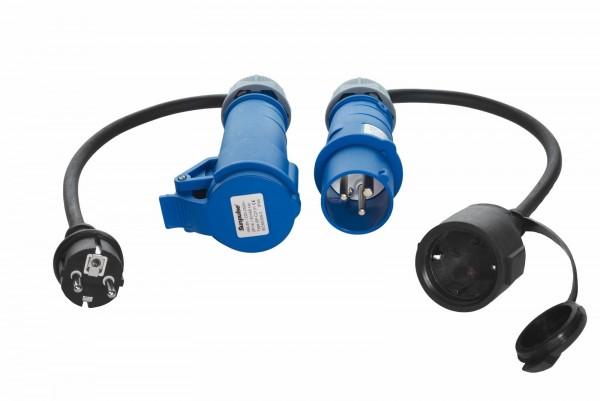 91414 CEE Schuko Adapter Set 230V 16A Stecker Kupplung Verteiler 3-polig IP44