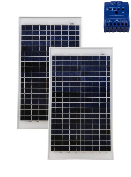 Solarset 50 Watt + 12V Solarladeregler 10A poly