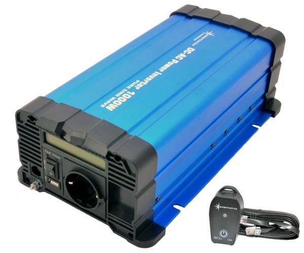 Spannungswandler FS1000D 12V 1000 Watt reiner Sinus BLAU m. Display mit Fernbedienung Kabel