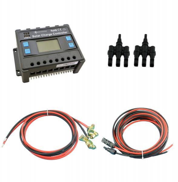 Solar Set 30A Laderegler Stecker Kabel für 3 Solarmodul Photovoltaik Inselanlage