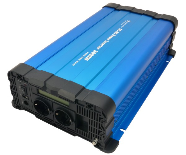 Spannungswandler FS3000D 12V 3000/6000 Watt reiner Sinus BLAU m. Display