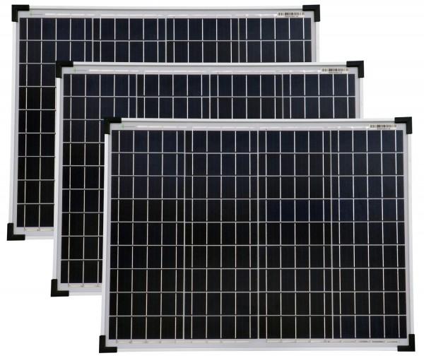 Solarmodule 3 Stück 50 Watt Poly Solarpanel Solarzelle 668x508x35 92381