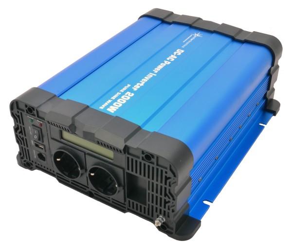 Spannungswandler FS2000D 24V 2000 Watt reiner Sinus BLAU m. Display