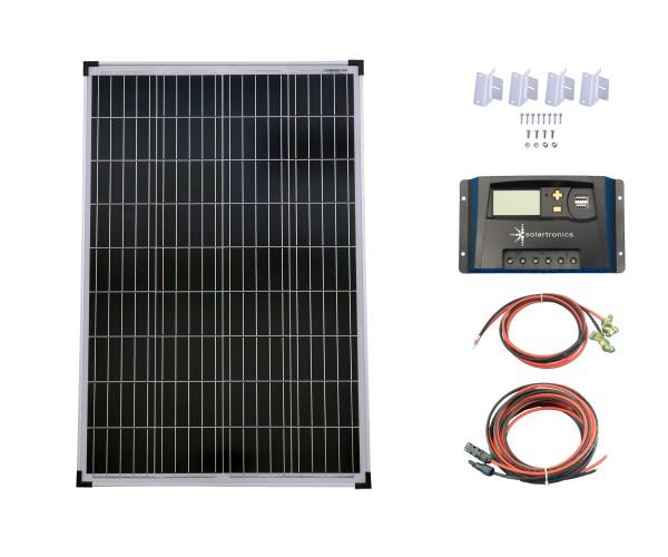 SET 1x100W Poly Solar Modul 20A Laderegler gelb Montagewinkel Kabel
