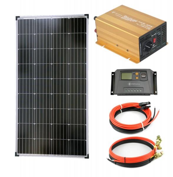 Komplettset 1x140 Watt Solarmodul 600 Watt NP600 Wandler 10A Laderegler gelb Solar Inselanlage