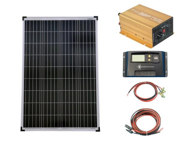 SET 1x 100W Poly Solar Modul 20A Laderegler gelb Spannungswandler 600W rein Kabel