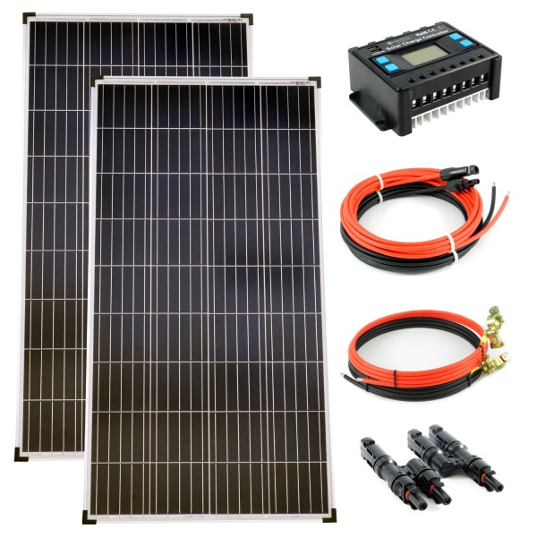 Komplettset 2x140 Watt Poly Solarmodul 20A Laderegler Kabel Solar Photovoltaik Inselanlage