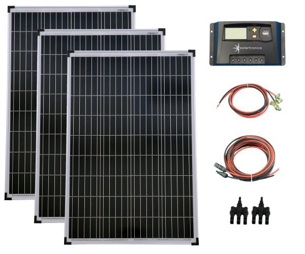 SET 3x 100W Poly Solar Modul 20A Laderegler gelb Kabel Stecker