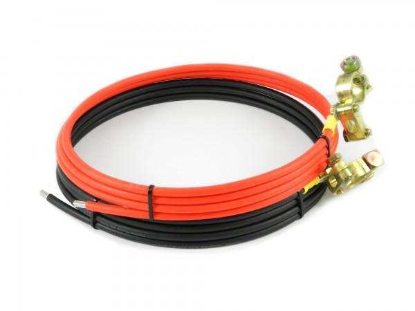 1 Paar Batterie Verbindungskabel schwarz rot Länge 2m Querschnitt 6mm² mit Batterieklemmen