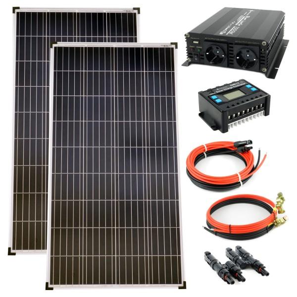 Komplettset 2x140 Watt Poly Solarmodul 1000 W Spannungswandler 20A Laderegler Solar Inselanlage