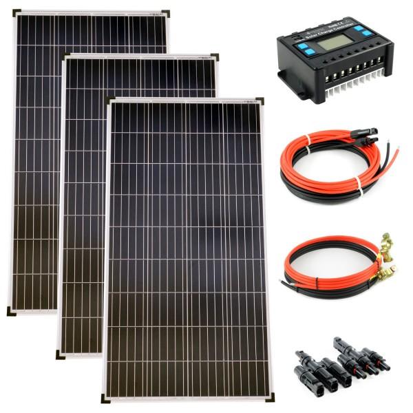 Komplettset 3x130 Watt Poly Solarmodul Laderegler 30A Photovoltaik Inselanlage