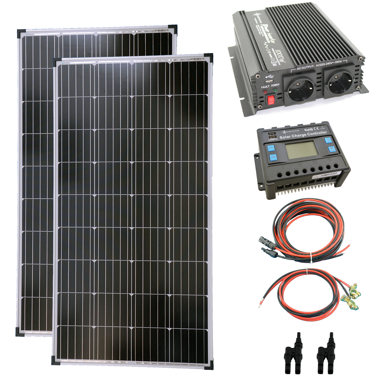 Komplettset 2x140 Watt Solarmodul Laderegler Photovoltaik Inselanlage
