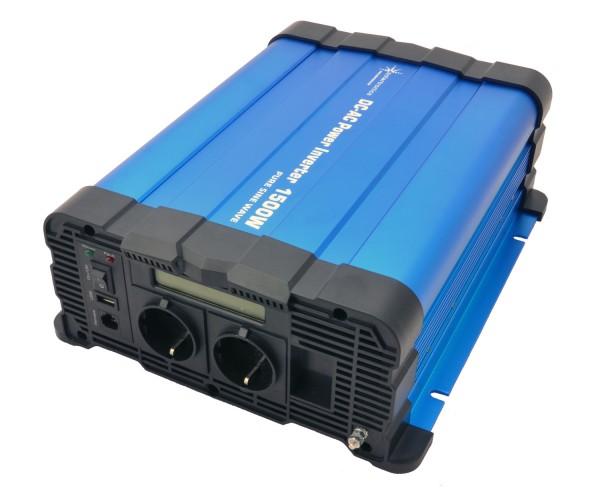 Spannungswandler FS1500D 12V 1500 Watt reiner Sinus BLAU m. Display