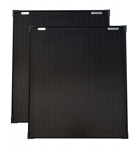 Solarmodule 2 Stück 50 Watt schwarz Mono Solarpanel Solarzelle 630x545x35 92084