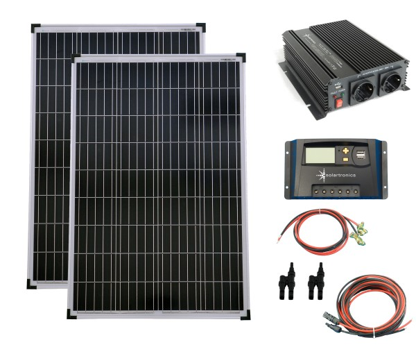 SET 2x 100W Poly Solar Modul 20A Laderegler gelb Spannungswandler 1000W modifiziert Kabel Stecker