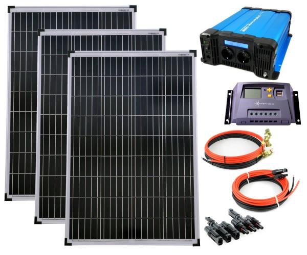 SET 3x100W Poly Solar Modul 20A Laderegler gelb Spannungswandler FS1500D 1500W Kabel Stecker