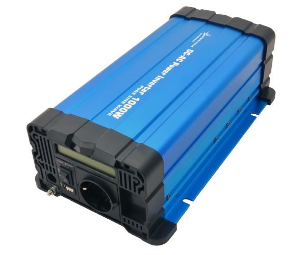 Spannungswandler FS1000D 24V 1000/2000 Watt reiner Sinus BLAU m. Display