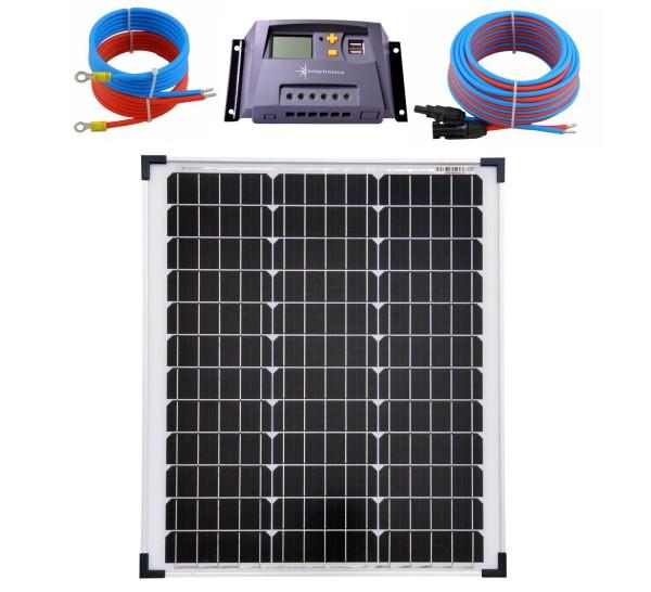 Solaranlage 50 Watt 12V Mono Laderegler 10A gelb Kabel 5 Meter Set