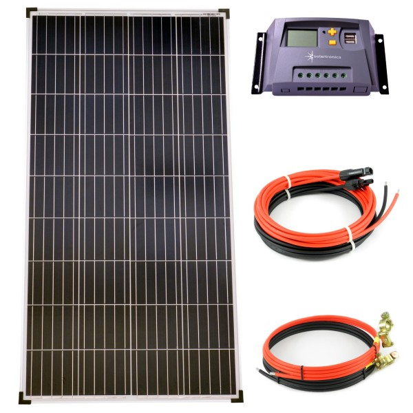 Komplettset 1x130 Watt Poly Solarmodul 10A Laderegler gelb Kabel Solar Photovoltaik Inselanlage