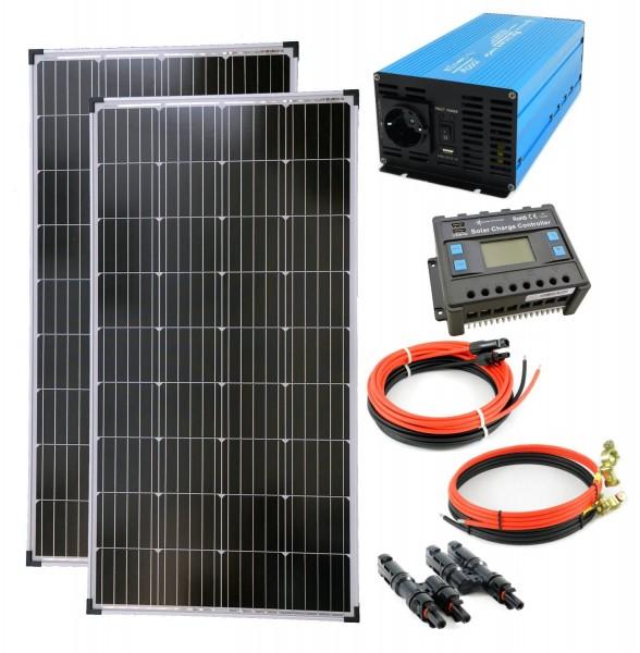 Komplettset 2x130 Watt Solarmodul 1000 Watt TS1000 Spannungswandler 20A Laderegler Inselanlage